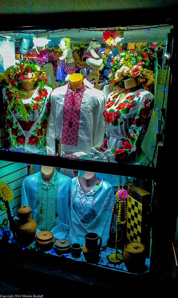 In an underground passage beneath Maidan square, a local store displays traditional Ukrainian clothing.